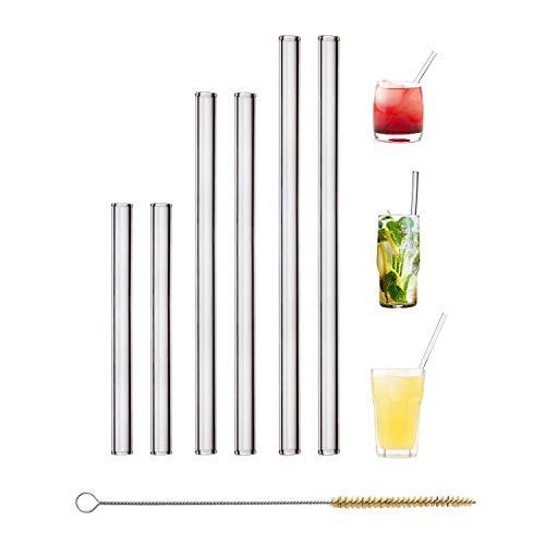 HALM Glas Strohhalme Wiederverwendbar Trinkhalm - 6 Stück, 3 Größen - Glastrinkhalme +...