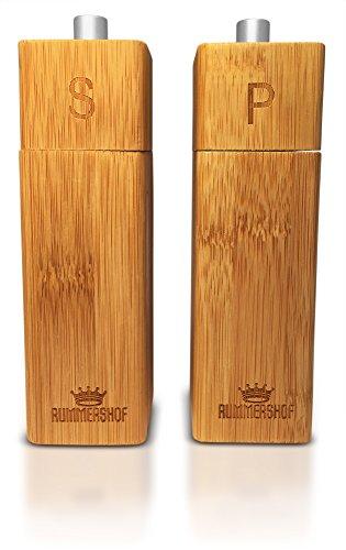 Holz Salz und Pfeffermühle Set aus Bambus | Design Salz Pfeffer Duo mit langlebigem Keramikmahlwerk