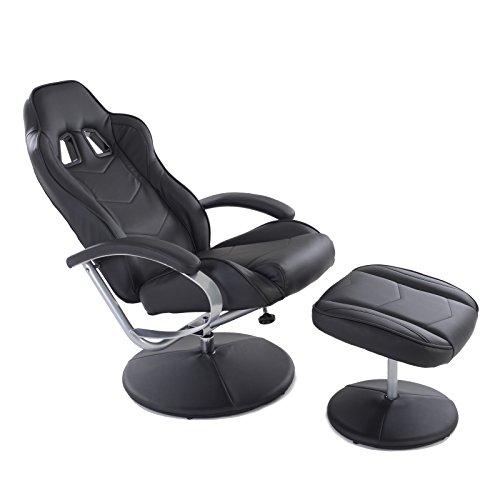 MACOShopde by MACO Möbel Racing TV Sessel mit Hocker aus Kunstleder in schwarz ergonomisch geformt kippbar und 360° drehbar