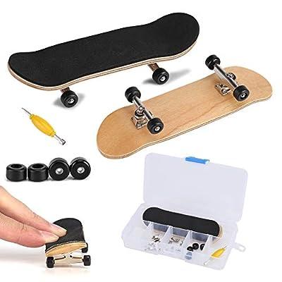 Fingerboard Finger Skateboards, Mini diapasón, Patineta de dedos profesional para Tech Deck Maple Wood DIY Assembly Skate Boarding Toy Juegos de deportes Kids Christmas Gift(Negro) de Zerodis