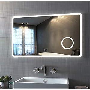 Bath-mann Badspiegel mit Beleuchtung 100x60cm LED Badezimmerspiegel Wandspiegel mit Touch-Schalter, Schminkspiegel mit 3-Fach Vergrößerung, Kaltweiß