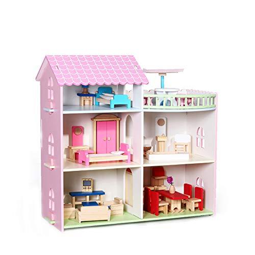ZED- Puppenhaus aus Holz für Mädchen und Jungen ab 3 Jahren, große Puppenstube, Kinder Spielzeug aus Holz FSC 100%, mit 26 Accessoires