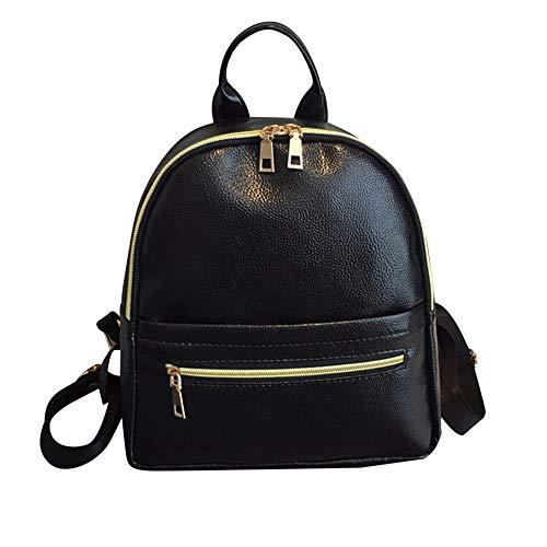 Mochila HPADR Mochila de Cuero para Mujer Mochila de Cuero de Moda Sólido Bolso escolar Negro pequeño pequeño pequeño Mini Mochila de viaje