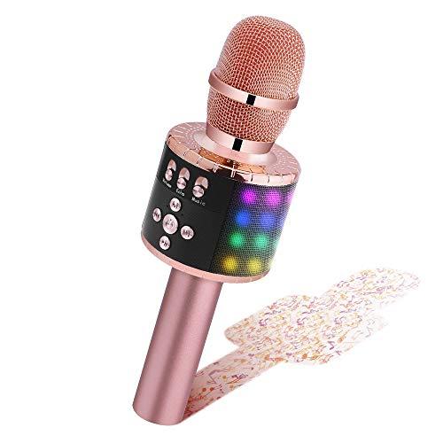 BONAOK Drahtloses Bluetooth-Karaoke-Mikrofon mit Steuerbaren LED-Leuchten, Tragbarer Karaoke-Maschinenlautsprecher Geburtstagsgeschenk Party-Reisespielzeug für Android/iPhone/iPad/Sony/PC (Roségold)