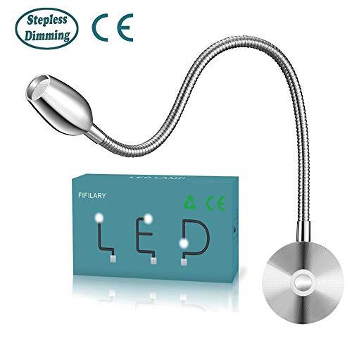 Lámpara de lectura led, brillo ajustable desde, montaje en pared, luz con función de memoria e interruptor...