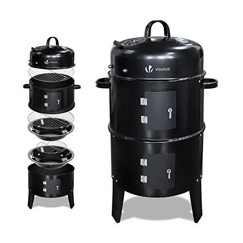 Vounot Barbecue Fumoir Smoker Multifonctions|BBQ 3 en 1 Thermomètre intégré|Barbecue Grill Charbon de Bois avec accroches|Fumoir Rond 3 grilles Grande Capacité| Fumoir Noir