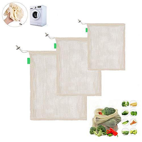 xiaoHannaw wiederverwendbare Bio-Baumwoll-Messer-Tasche für Zuhause, Küche, waschbar, Kordelzug, Einkaufstaschen, wiederverwendbar, Baumwolle, Netztasche für Zuhause, Küche, waschbar, mit Kordelzug (Tuch Bulk-lebensmittel-beutel)