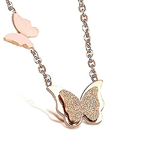 findout 14K rose gold plated titanium steel double frosted dimensional butterfly pendant necklace