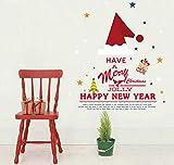 Jkxiansheng Chapeau De Noël Célébration De Noël Stickers Muraux Fenêtre Chambre Décoration Murale Peinture Transparent Film Autocollants Imperméables