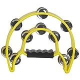 Giocattolo Musicale a Percussione Strumento,Music Tambourine Handbell con strumenti a percussione a percussione di fusti in metallo a doppia fila in metallo giallo