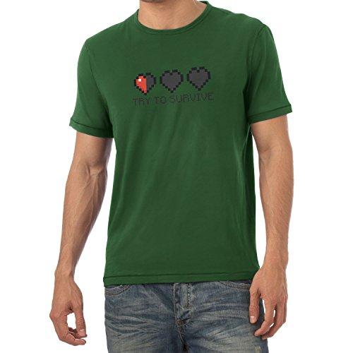TEXLAB - Try to survive - Herren T-Shirt Flaschengrün