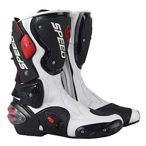 LLC-CLAYMORE Travel Men es Street Motorcycle Boots, Motorrad-Rennstiefel Schuhe mit Knob-Typ-Elastik-Einstellgerät,White,US8/EU41 Mens Street Motorcycle Boots
