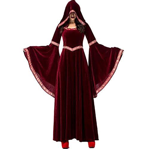Suncaya Vintage Cosplay Kostüme für Frauen Retro Witch Vampire Wizard Costume WeinRot