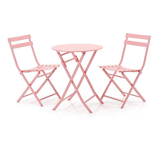 Garten-cocktail-tisch-set (Tische 3 Stück Klapptische Stühle im Freien Metall Patio Bistro-Set Gartenmöbel Cocktail Stehtische CJC (Color : Pink, Size : Round Table))