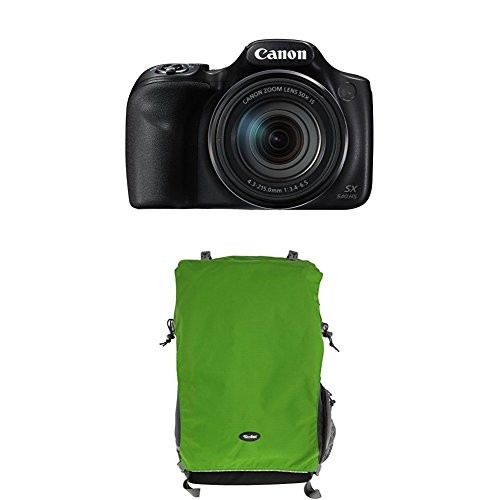 Canon PowerShot SX540 HS Digitalkamera (20,3 Megapixel CMOS-Sensor, 50-fach Ultrazoom, 100-fach ZoomPlus, WiFi, Full HD) schwarz+Rollei Traveler Fotorucksack Canyon XL Green