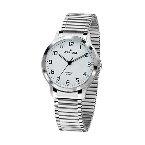 ATRIUM Damen-Armbanduhr Analog Quarz Edelstahl 5 bar Leuchtzeiger Flexband Silber A13-50