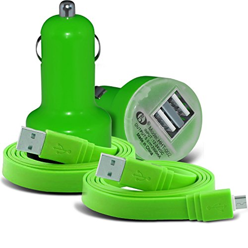 Preisvergleich Produktbild (Green) UMi Plus Universal Compact desine 12v Quick Compact Mini Bullet USB Dual Port In Car Charger & 2x Micro USB Flat 1 Metre Data Snyc PC Tablet Charging Cable Exclusive To i -Tronixs