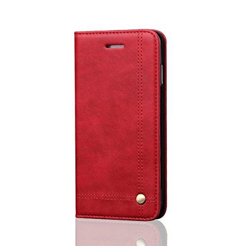 iPhone 6 / iPhone 6s 4.7 inch Cas Couverture LifeePro Cheval fou Modèle PU Cuir Cas Flip Stet Couverture Portefeuille Machines à sous avec Fermeture magnétique pour iPhone 6 / iPhone 6s 4.7 inch Noir rouge