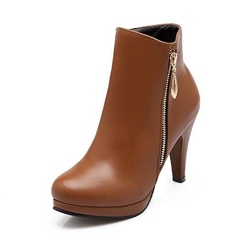AgooLar Damen Rund Zehe PU Reißverschluss Hoher Absatz Stiefel, Schwarz-Reißverschluss, 35