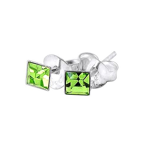 3MM Square Set Peridot Crystal AUGUST Birthstone 925 Sterling Silver Stud Earrings