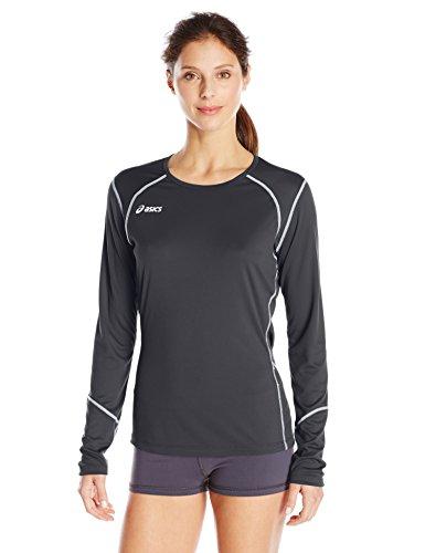 ASICS Damen Volleycross Long Sleeve Jersey, Damen, VolleycrossTM Long Sleeve, Black/Steel Grey, Large