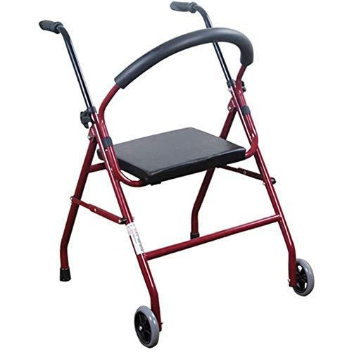 LshkyZXQ Rojo Oscuro Plegable Ayuda para Caminar, Cuatro Patas Tubo de pulverización Viejo Walker Rueda de la Correa discapacitados Ayuda Resistente Impermeable Rueda rollator
