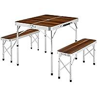 TecTake Mesa maleta 2 bancos camping plegable portátil jardín picnic aluminio | plegada (largo x ancho x alto) 91x10x34 cm