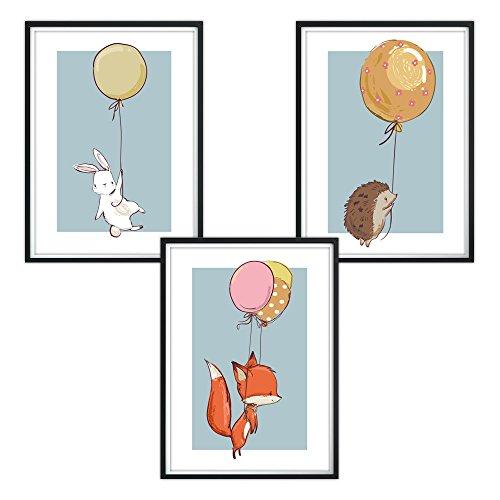 luvel - 3er-Set Kinderzimmer Poster DINA4 für den Bilderrahmen (P5)