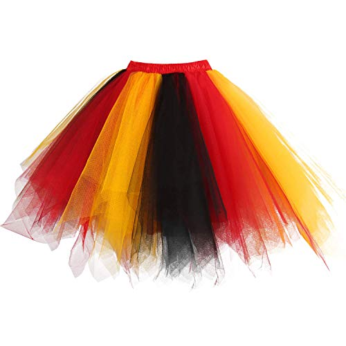 GirstunmBrand Damen 50er Vintage Tüllrock Petticoat Mehrfarbig Bubble Tanzkleid Rock Rot-Gold-Schwarz-S/M