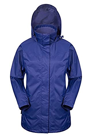 Mountain Warehouse Guelder Women's Winter Long Jacket - Waterproof, Taped Seams with Tricot Lined for Insulation & Comfort, Pack Away Hood, Storm Flap & Rain Channel  Navy 16