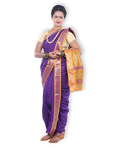 Mynauvari's Ready to Wear Stiched 9 Mtrs Brahmani Style Purple Iris Semi...