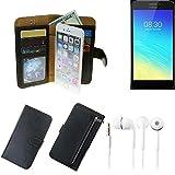 K-S-Trade TOP Set für TP-LINK Neffos Y5S Portemonnaie Schutz Hülle schwarz aus Kunstleder + Kopfhörer Walletcase Smartphone Tasche für TP-LINK Neffos Y5S vollwertige Geldbörse mit Handyschutz