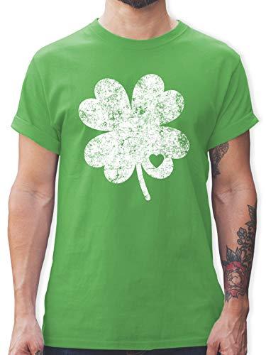 St. Patricks Day - Vintage Kleeblatt mit Herz - M - Grün - L190 - Herren T-Shirt und Männer Tshirt -