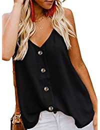 fc44bee6b787 GOSOPIN Womens Summer Sleeveless V-Neck Blouse Casual Adjustable Spaghetti  Straps Cami Vest Tank Tops
