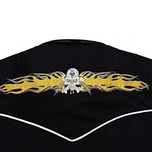Relco Rockabilly Motard Occidental Crâne En Flamme Brodé Chemise, Hommes Noir