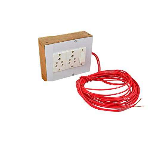 NAVSWA Electric Extension Wooden Board Solid Durable 5 Meter Wire (2 Sockets, 1 Switch)