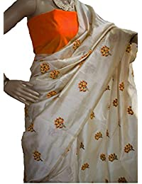 SilverStar Women's Chanderi Cotton Off-White Color Tree Embroidery Work Designer Saree With Benglori Silk Orange...