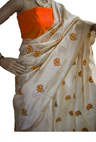 SilverStar Women's Chanderi Cotton Off-White Color Tree Embroidery Work Designer Saree With...