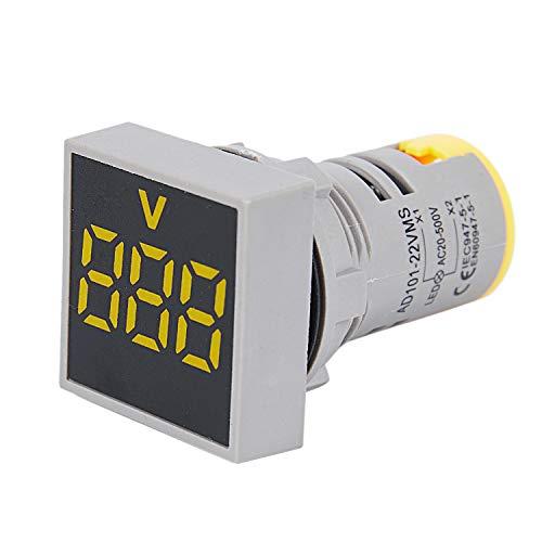 Gaoominy 22Mm Ac 12-500V Voltmeter Quadratische Schalttafel Led Digitale Spannung Messinstrument Anzeige Lampe Gelb - Gelbe Anzeige-lampe