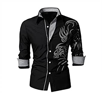 SODIAL(R) Cool Hommes Europ¨¦enne Dominatrice Dragon Conception Chemise Mince Fit Attrayante Chemise Noir Taille L