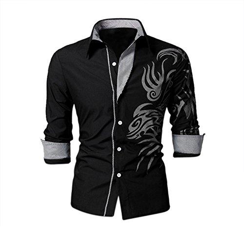 SODIAL (R) Fresco de Hombre Europeo dominante Dragon Diseno camisa delgado atractivo camisa Negro Tamano M