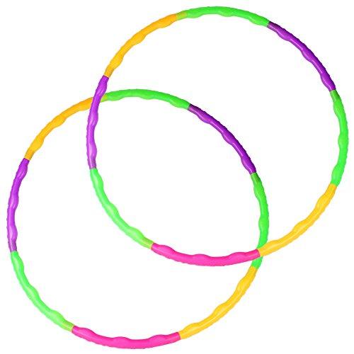 COM-FOUR® 2er Set - Hula-Hoop Ring zum Zusammenstecken, Grün, Lila, Pink, Orange