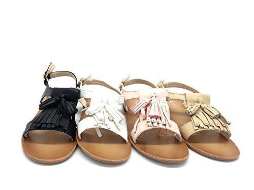 CHIC NANA Chaussure Fille Mode Sandales Zina, Élégantes Sandales avec Pompons à Franges Et Fermeture à Boucle sur Le Coté.