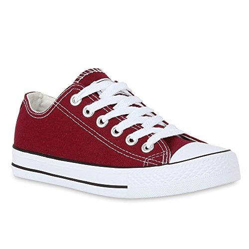 Damen Sneakers Sportschuhe Schnürer Schuhe 27919 Dunkelrot Ambler 39 Flandell