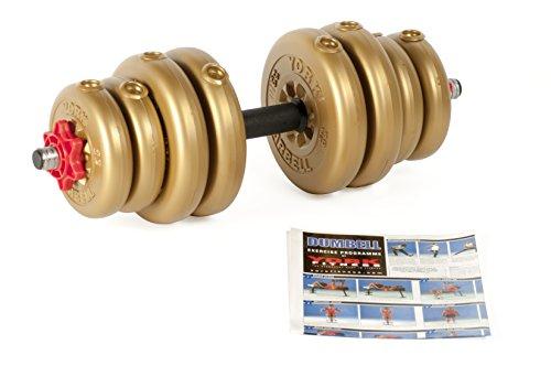 York Fitness Mancuerna Individual Vinilo Ajustable con Juego de Pesas y Juego de Mancuernas con Cierre spinlock Tubular