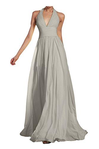 Gorgeous Bride Modisch V-Ausschnitt Neckholder Empire Chiffon Lang Abendkleid Ballkleid Brautjungfernkleid Silver