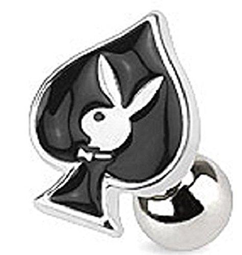 Offizielle lizenzierte Playboy Black Enamel Spaten Card Anzug und Bunny Tragus oder Knorpel (Männliche Kostüme Bunny Playboy)