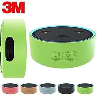 Amazon Echo Dot Hülle von Cuvr | Zubehör Case aus Silikon mit 3M-Wandhalterungs-Klebepad [Ohne Bohren] (Grün)