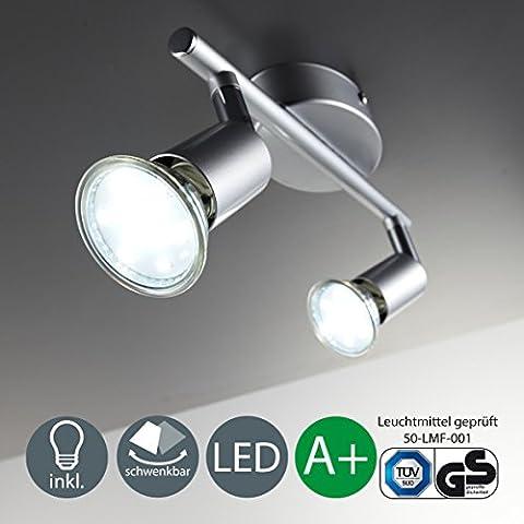 Spot Blanc Patere Gu10 - Plafonnier LED/Patère 2 spots LED/Spot/GU10/3W/250lumen/orientable/titane, 230 volts