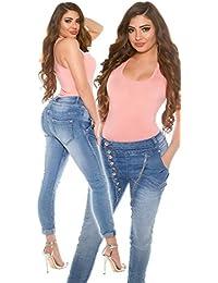 Curvy Girls Damen Skinny Jeanshose Jeans Hose Pants Hüftjeans Röhre Röhrenjeans Boyfriend Chino Baggy